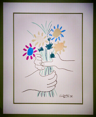 """Vintage Pablo Picasso Lithograph Hands with Flowers """"Bouquet of Peace"""" COA , used for sale  Shipping to Ireland"""