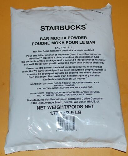 Starbucks bar mocha powder 3.9lb/62.5oz sealed PROD 09 OCT 2020 BB 09 OCT 2021