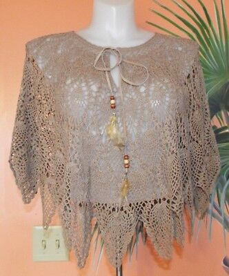 HOT KISS ONE SIZE BROWN CROCHET PONCHO WITH FEATHERS & BEADS. W@W