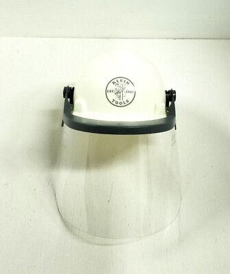 Construction Hard Hats With Logo (Klein Tools V-Gard Hard Cap with Klein Lineman Logo and Faceshield White)
