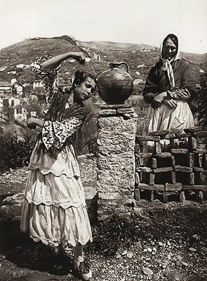1922 Vintage SPAIN Granada GYPSY Girl Folk Dance Landscape Photo Art ~ HIELSCHER
