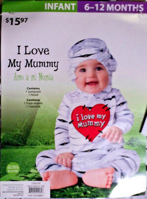 Mummy Costume - Infant 6/12 MOS - 2 Piece Jumpsuit & Hood Set - - Baby Costumes Walmart