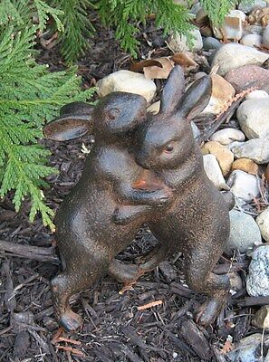 Hugging BUNNY Rabbits Sculpture*Primitive/French Country Urban Farmhouse Decor - Bunny French