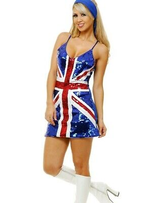 British Sequin Costume Dress Union Jack Flag - XS S M L XL -