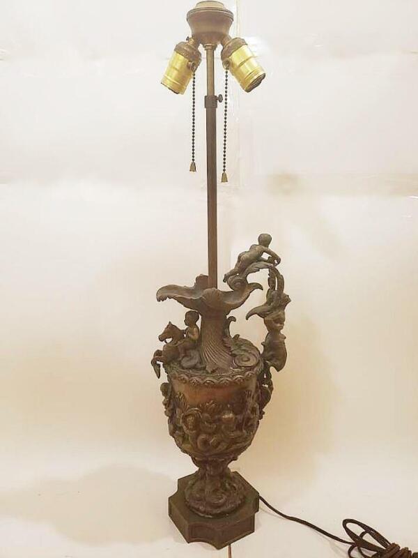 Antique Art Nouveau Bronzed Metal Figural Lamp w/Fantasric Creatures c.1910s