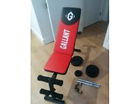 Workout bench, dumbbells and weights