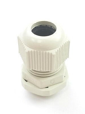 100) PG11 White 4 GA. Waterproof Nylon Cable Gland Connector 5-10mm Cable Range