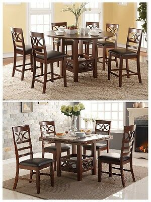 5Pcs Counter Height Dining Table With Extension Leaf And Faux Leather Seat Chair