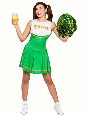 Green Cheerleader fancy dress costume Womens costume Cheers + Pom Pom