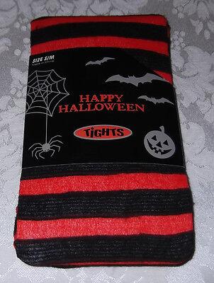 S/M Black Orange Striped Halloween Tights 5' - 5'6