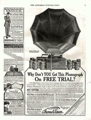 Thomas A. Edison Phonograph  -  Large Horn  -   Original Advertisement  - 1909
