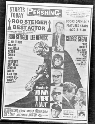 "1968 Rod Steiger movie ad. ""No Way to Treat a Lady"" - Original"