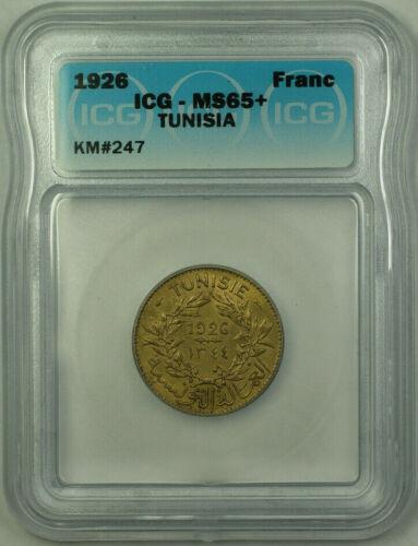 1926 Tunisia 1 Franc Coin ICG MS-65+ KM#247