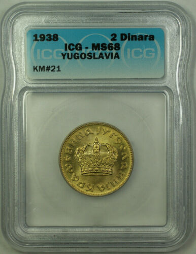 1938 Yugoslavia Petar II 2 Dinars Coin ICG MS-68 KM#21 (B)