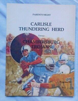 Carlisle Thundering Herd Vs Chambersburg Trojans High School Pa Program 11/11/83