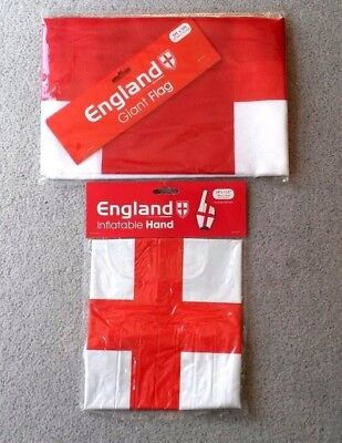 England Inflatable Hand  24 x11.5 inch and Giant England flag 3x5 ft -brand new