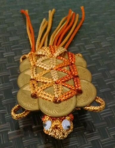 Chinese Coin Macramé Turtle Tortoise Googly Eyes Gold 6 inch Lucky Feng Shui