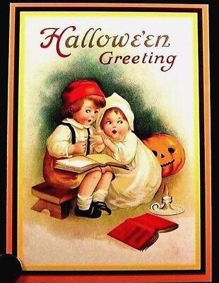 Little Boy Girl Ghost Stories Pumpkin Antique Look - Halloween Greeting Card NEW](Ghost Stories Halloween)