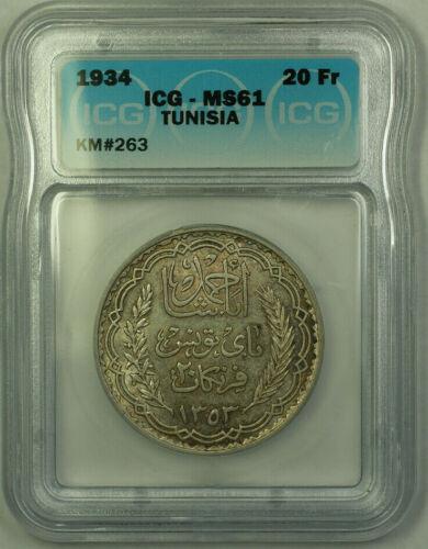 1934 Tunisia 20 Francs Coin ICG MS-61 KM#263