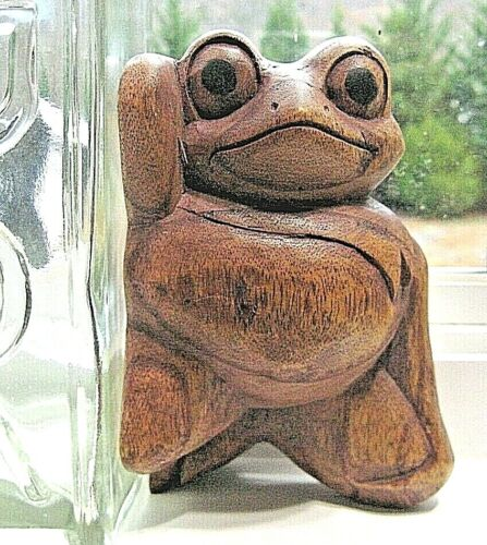 Vintage Hand Carved Wooden Display Frog Figurine Reclining 1970s