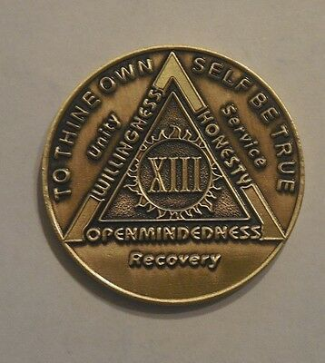 Used, aa bronze alcoholics anonymous 13 year sobriety chip coin token medallion NEW for sale  Shipping to Canada