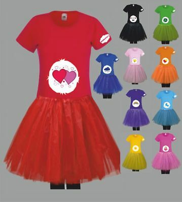 Kostüm für Glücksbärchi Fans Damen T-Shirt Tütü/Rock Gruppenkostüm Karneval JGA