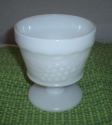 VINTAGE MILK GLASS GRAPE PANEL PEDESTAL FOOTED JUICE GLASS