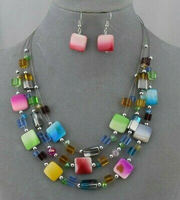 Beaded Shell Jewelry Set (Layered Multi Color Shell Bead Necklace Set Fashion Jewelry NEW )