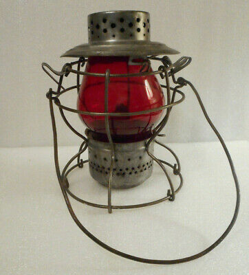 Antique Handlan St. Louis Railroad Lantern Glass With Red Globe Etched ILL SOU