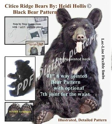 PDF Artist sewing PATTERN fur or mohair Jointed Teddy Bear realistic 80 pgs