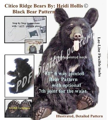 PDF artist PATTERN fur/mohair Jointed Teddy Bear realistic 80 page Heidi Hollis