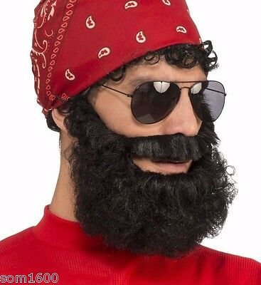 BLACK CURLY BEARD WITH ATTACHED MUSTACHE  ADULT HALLOWEEN COSTUME ACCESSORY