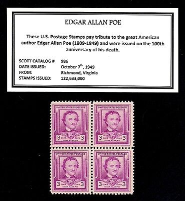 (1949 - EDGAR ALLAN POE - Vintage Mint -MNH- Block of Four Postage Stamps)