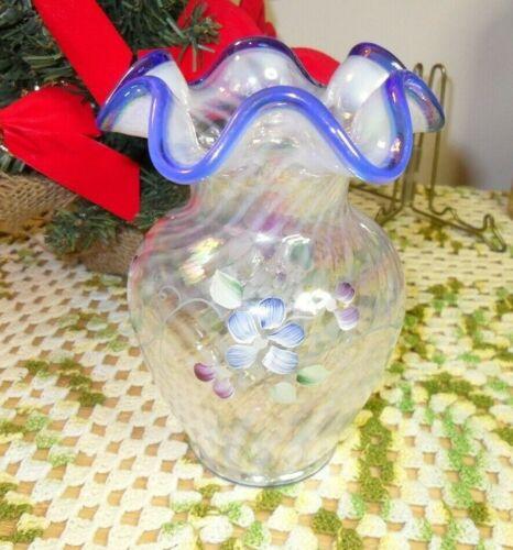 Fenton glass hand painted vase signed