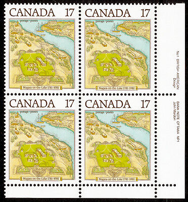 Canada 897 BR Plate Block MNH Niagara on the Lake, Map