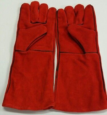 16 Red Welding Gloves Split Leather Cowhide Protect Welder Hands