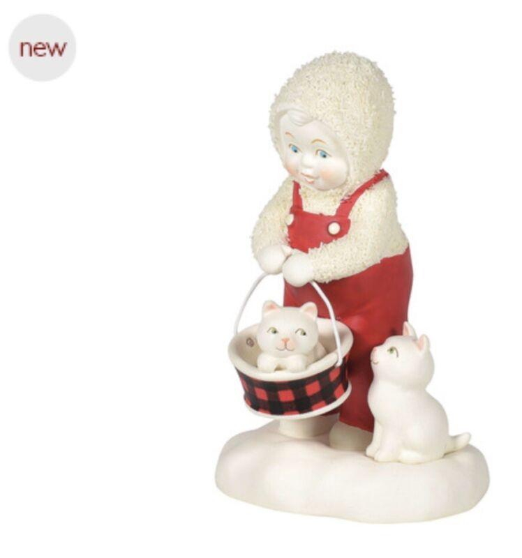 """Dept 56 Snowbabies """"Make Room For Me"""" Cat/Kitten Figurine NIB 4""""H. Enesco Bisque"""