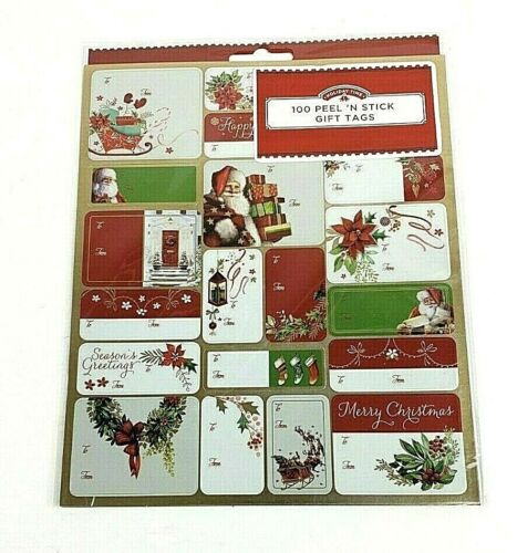 Holiday Time 100 Count Gift Tags Peel N Stick