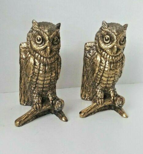 Vintage Hampton Virginia Brass Owl Bookends Mid Century