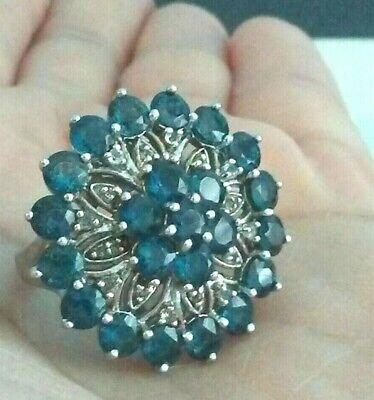 HSN Sterling London Blue Topaz Designer RSI Ring
