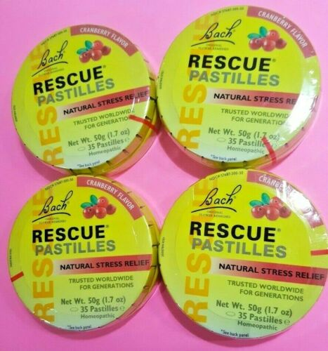 Lot of 4  Bach RESCUE PASTILLES CRANBERRY Stress Relief  4 pack EXP. 01/2021