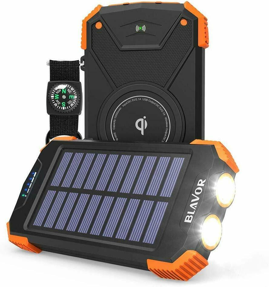 Solar Power Bank, Qi Portable Charger 10,000mAh External Bat