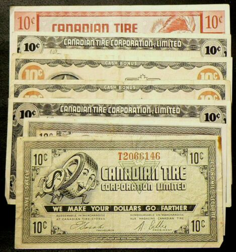 Canadian Tire 10 Cent Coupons Lot of 7  #5340