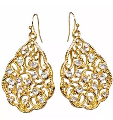 14k yellow gold earrings pear crystal filigree floral dangle bohemian antique CZ 14k Yellow Gold Filigree Dangle Earrings