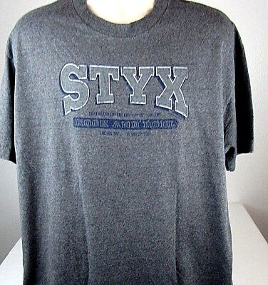 Styx  T-Shirt  X-Large Renegade Concert Two Sided Gray Rock Band ()