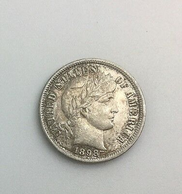 1898 P PHILADELPHIA BARBER DIME NICE COLLECTORS COIN LUSTROUS