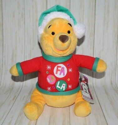Disney Winnie The Pooh Fa LA LA Christmas Holiday Stuffed Animal Plush