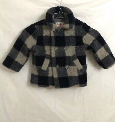 Il Gufo Toddler Double Breasted Winter Coat Navy/Grey Checked Boys Size 2