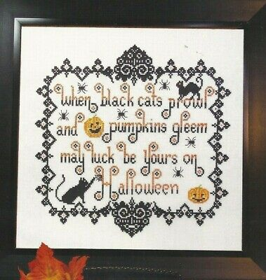 WHEN BLACK CATS PROWL--Halloween--Pumpkins--Poem--Counted Cross Stitch