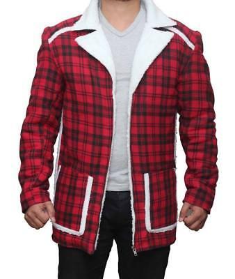 Deadpool Ryan Reynolds Red Shearling Winter Fur Jacket Coat For Mens